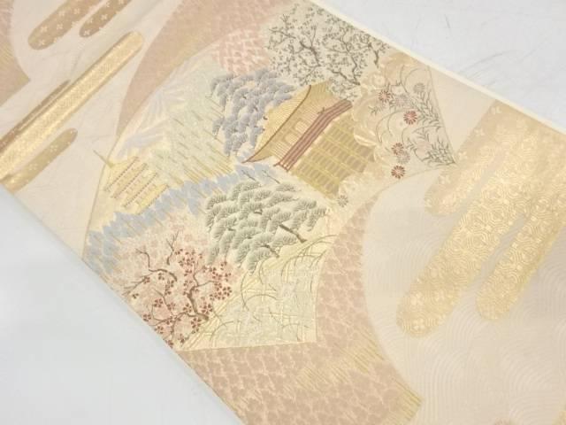 未使用品 地紙に寺院風景模様織出し袋帯【リサイクル】【着】 宗sou