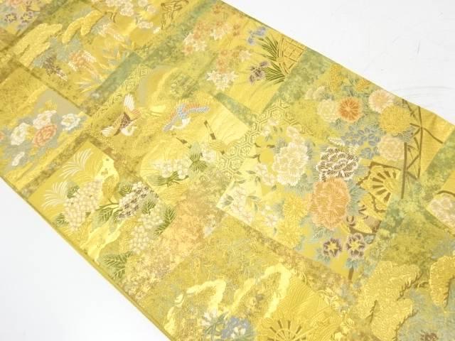 引箔色紙に花鳥・花車模様織出し袋帯【リサイクル】【中古】【着】 宗sou