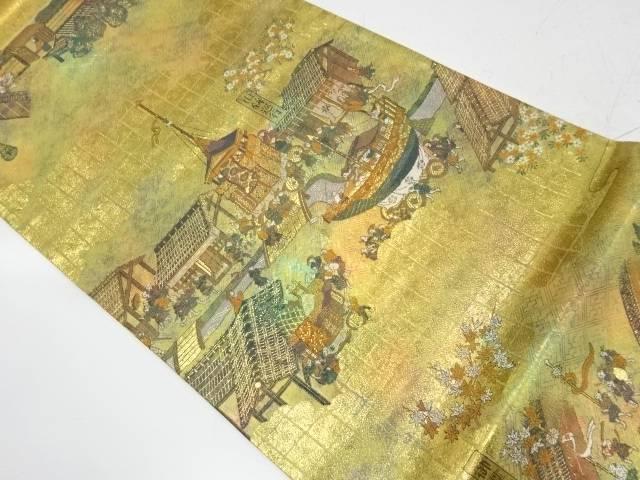 未使用品 引箔洛中洛外の図織出し袋帯【リサイクル】【着】 宗sou