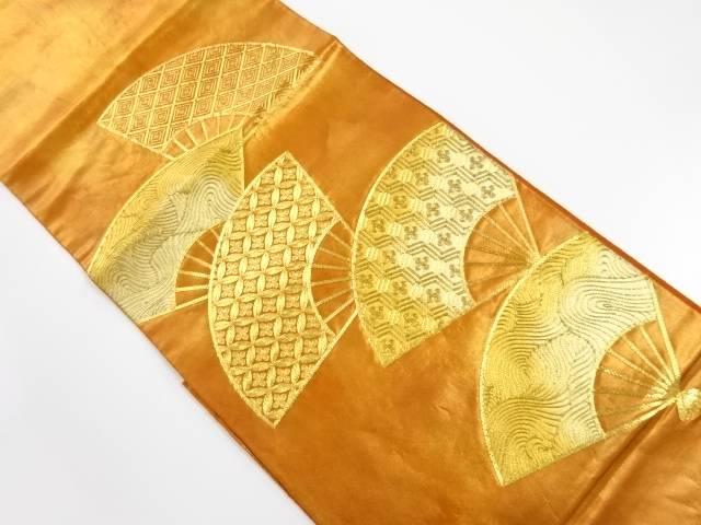 扇面に波・古典柄模様刺繍袋帯【リサイクル】【中古】【着】 宗sou