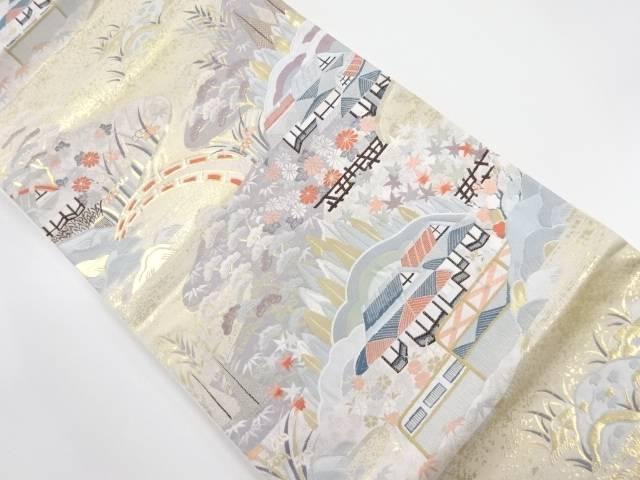 金糸田舎風景模様織出し袋帯【リサイクル】【中古】【着】 宗sou
