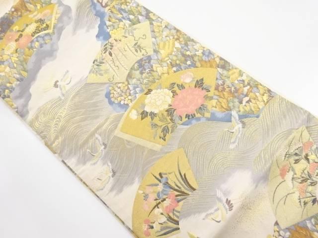 金糸 波地紙に牡丹群鶴模様織り出し袋帯【リサイクル】【中古】【着】 宗sou