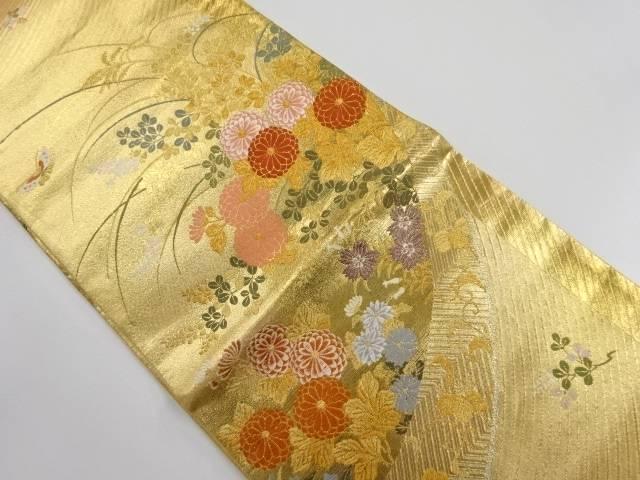 本金 菊萩・蝶模様織り出し袋帯【リサイクル】【中古】【着】 宗sou