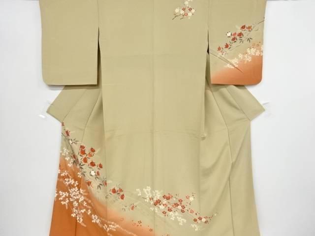 橘に菊模様刺繍訪問着【リサイクル】【中古】【着】 宗sou