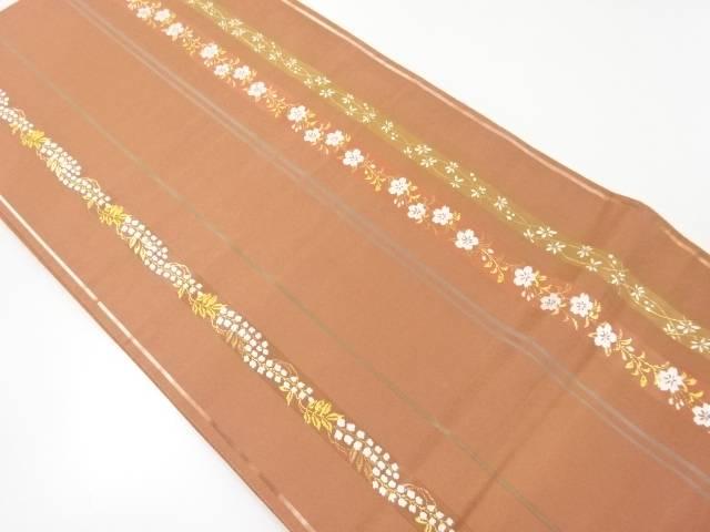 縞に藤・桜模様織り出し袋帯【リサイクル】【中古】【着】 宗sou