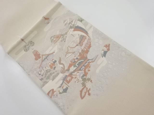 銀通し祇園祭模様織り出し袋帯【リサイクル】【中古】【着】 宗sou
