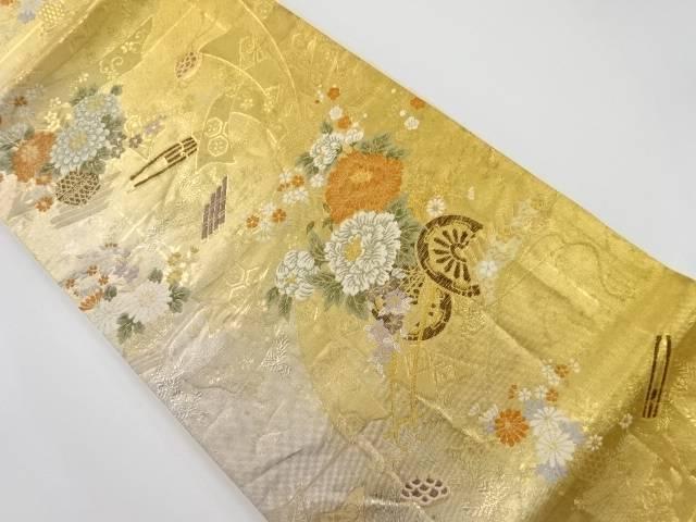 本金花車に和楽器模様織り出し袋帯【リサイクル】【中古】【着】 宗sou