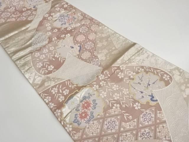帯に雪輪・草花模様織出し袋帯【リサイクル】【中古】【着】 宗sou