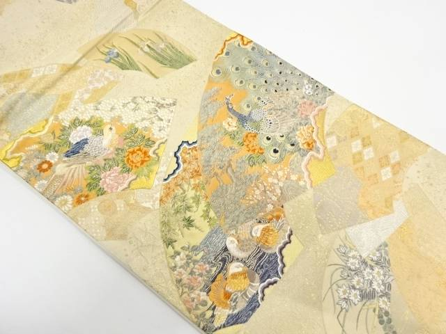 純金箔景年花鳥絵図織出し袋帯【リサイクル】【中古】【着】 宗sou