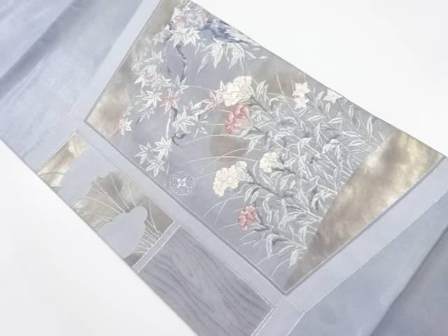 引箔襖に秋草模様織り出し袋帯【リサイクル】【中古】【着】 宗sou