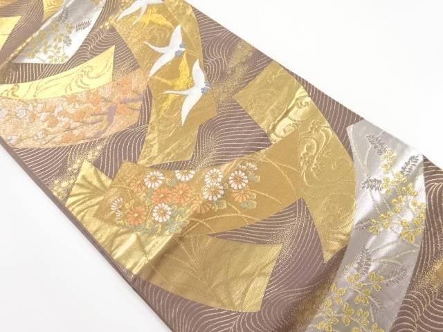 本金短冊に梅・群鶴模様織り出し袋帯【リサイクル】【中古】【着】 宗sou