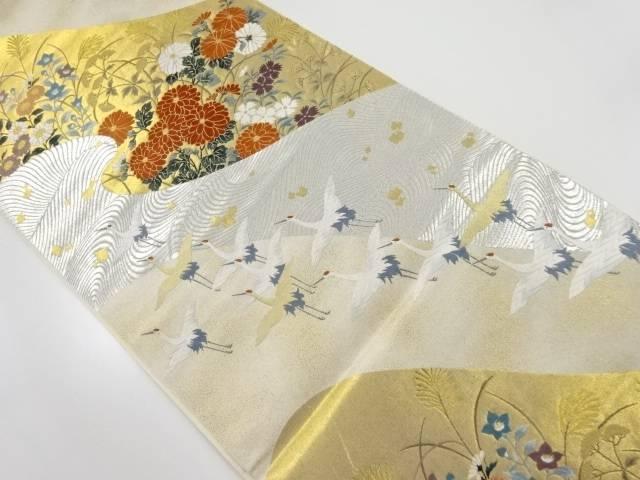 本金秋草に群鶴模様織り出し袋帯【リサイクル】【中古】【着】 宗sou