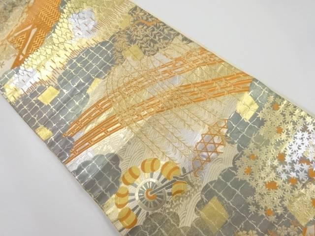 服部織物製 こはく錦枝垂れ柳に橋・水車模様織り出し袋帯【リサイクル】【中古】【着】 宗sou