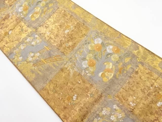 本金格子に桜・鴛鴦模様織り出し袋帯【リサイクル】【中古】【着】 宗sou