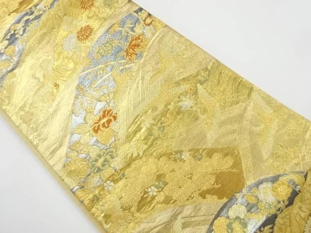 本金箔 波に花鳥模様織り出し袋帯【リサイクル】【中古】【着】 宗sou