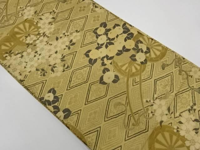 花車模様織出し丸帯(材料)【アンティーク】【中古】【着】 宗sou