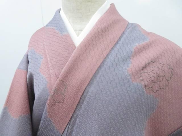 小紋 変わり織 雲取りに牡丹文 着物【リサイクル】【中古】【着】 宗sou