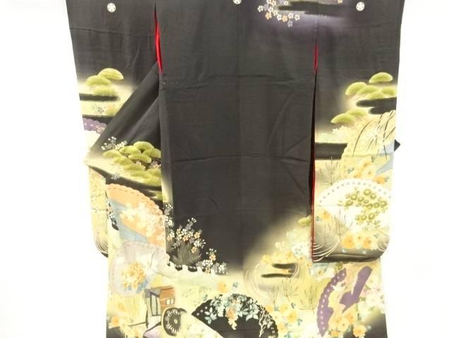 錦紗幕に桧扇・花模様刺繍五つ紋花嫁衣装振袖【大正ロマン】【中古】【着】 宗sou