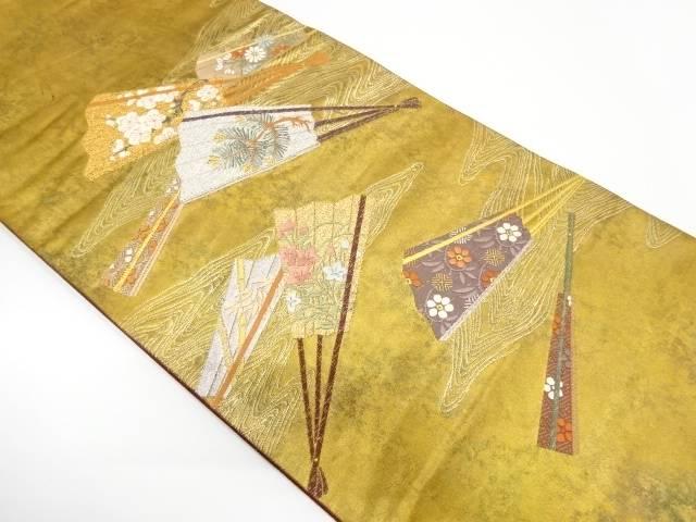青銅箔扇に松竹梅模様織出し袋帯【リサイクル】【中古】【着】 宗sou