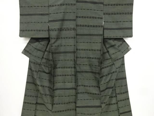 馬渕登作 横段に十字絣織り出し手織り真綿紬着物【リサイクル】【中古】【着】 宗sou