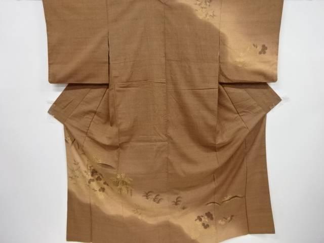 手描き遠山に藤・菊模様手織り真綿紬訪問着【リサイクル】【中古】【着】 宗sou
