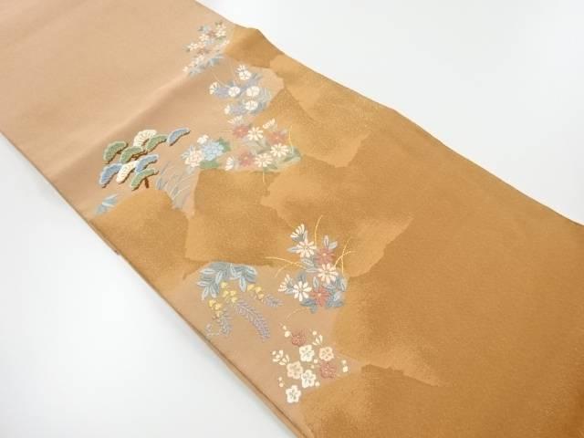 綴れ松に草花模様織り出し袋帯【リサイクル】【中古】【着】 宗sou