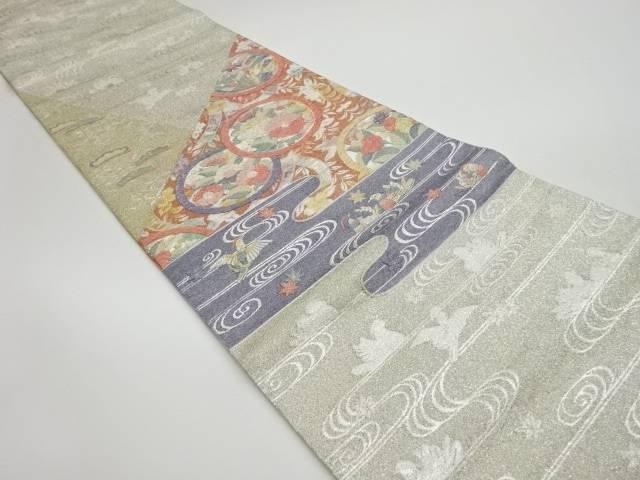 未使用品 綴れ流水に花丸文様織出し袋帯【リサイクル】【着】 宗sou