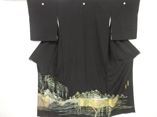 唐渡健作 箔置き「二重橋」模様留袖(比翼付き)【リサイクル】【中古】【着】 宗sou