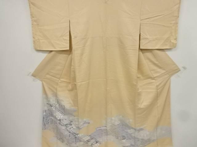 橋に柳・槌車模様刺繍一つ紋色留袖【リサイクル】【中古】【着】 宗sou