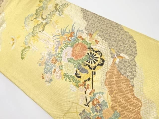 本金箔 花車に笠松・鳥模様織り出し袋帯【リサイクル】【中古】【着】 宗sou