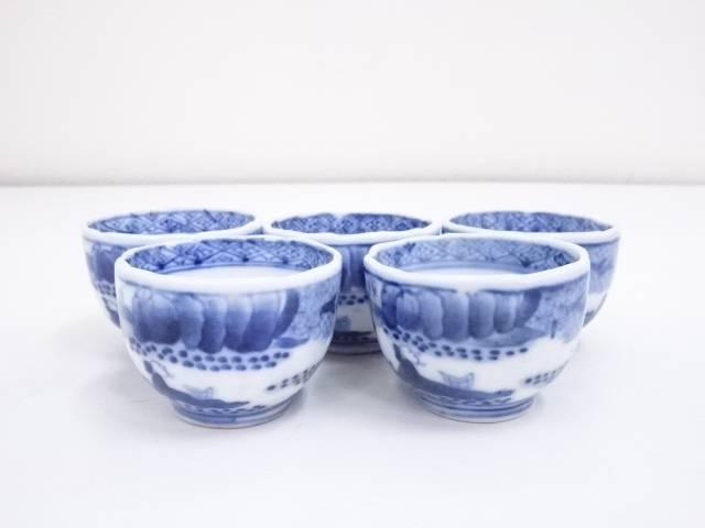 成化銘 染付人物文煎茶碗 5客【中古】【道】 宗sou