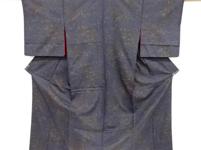 草花模様手織り節紬単衣着物(内袖付き)【リサイクル】【中古】【着】 宗sou