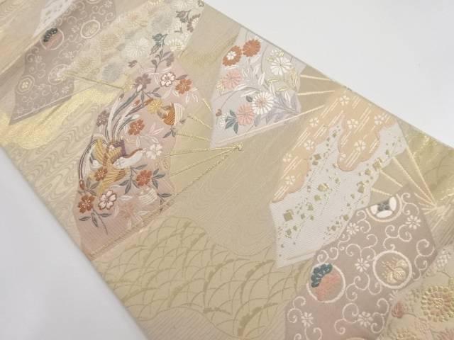 金糸扇面に花鳥模様織り出し袋帯【リサイクル】【中古】【着】 宗sou