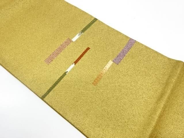 変わり横段模様刺繍袋帯【リサイクル】【中古】【着】 宗sou