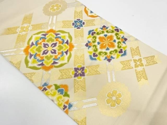 格子に華紋模様織出し袋帯【リサイクル】【中古】【着】 宗sou