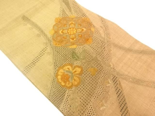 汕頭刺繍草花模様袋帯【リサイクル】【中古】【着】 宗sou