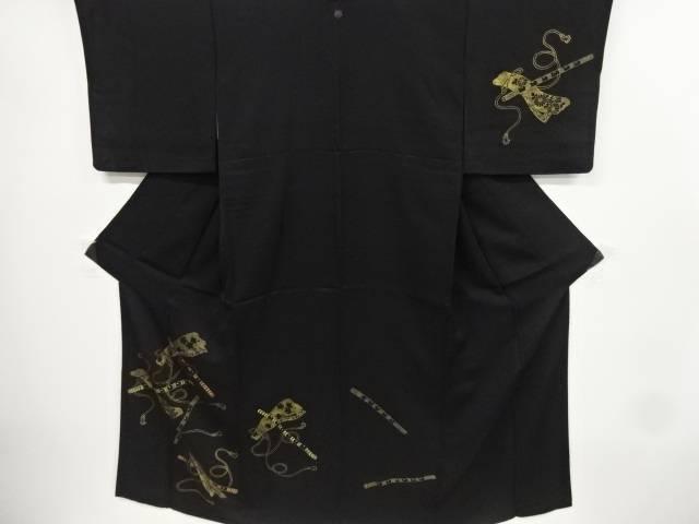 金彩横笛模様刺繍一つ紋訪問着(重ね衿付き)【リサイクル】【中古】【着】 宗sou