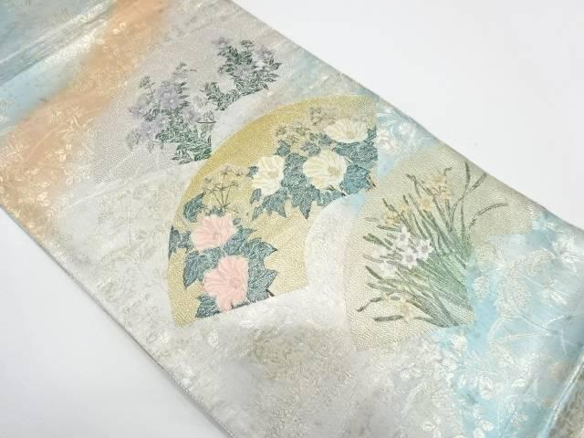 ささき織物製 地紙に草花模様織出し袋帯【リサイクル】【中古】【着】 宗sou