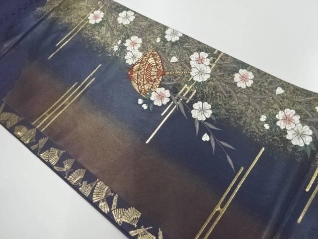 番傘に枝垂れ桜模様織出しぼかし袋帯【リサイクル】【中古】【着】 宗sou