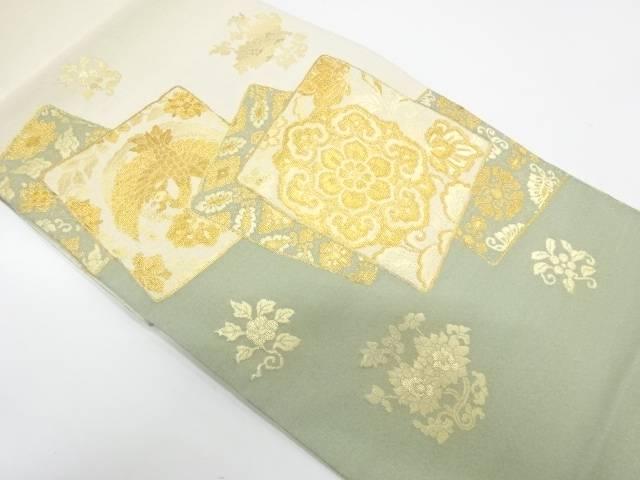 色紙に花鳥模様織出し袋帯【リサイクル】【中古】【着】 宗sou