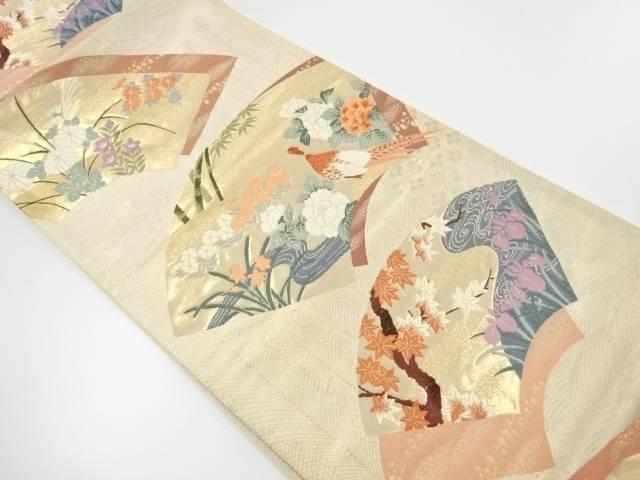地紙に雉・牡丹・紅葉模様織り出し袋帯【リサイクル】【中古】【着】 宗sou