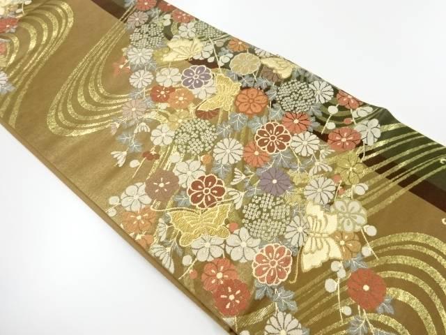 流水に蝶・花模様織出し袋帯【リサイクル】【中古】【着】 宗sou