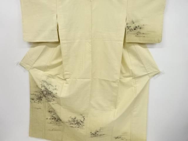 手描き家屋に松竹梅草花模様手織り真綿紬一つ紋単衣着物【リサイクル】【中古】【着】 宗sou