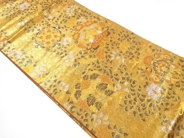 向かい鳥に花模様織出し袋帯【リサイクル】【中古】【着】 宗sou