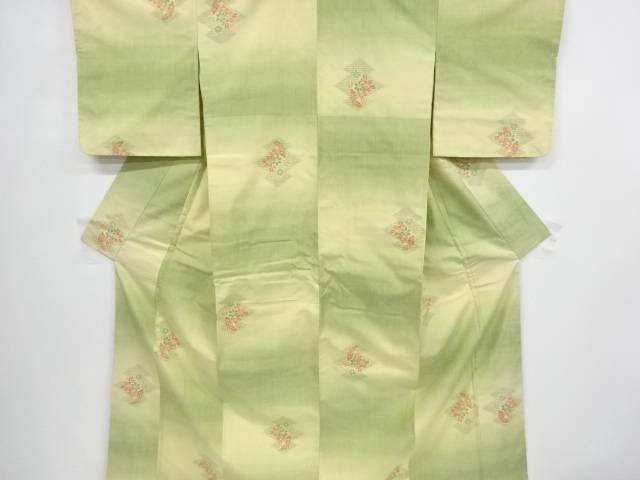 松皮菱に草花模様織り出し手織り真綿紬着物【リサイクル】【中古】【着】 宗sou