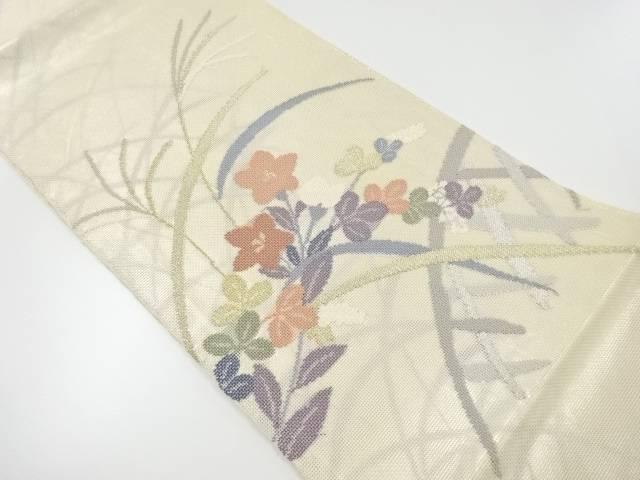 紗 桔梗に秋草模様織り出し袋帯 【リサイクル】【中古】【着】 宗sou