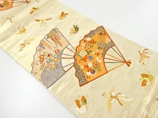 扇に鳳凰・蝶草葉模様織り出し袋帯 【リサイクル】【中古】【着】 宗sou