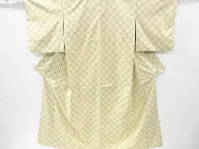 市松模様織り出し十日町紬着物【リサイクル】【中古】【着】 宗sou
