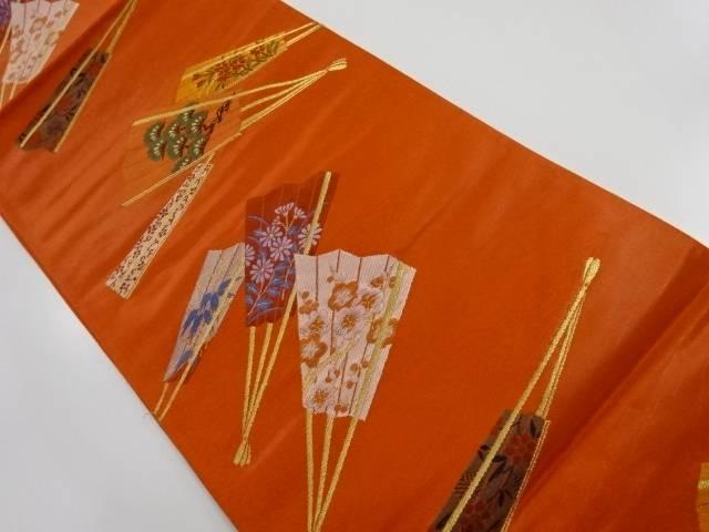 金糸扇面に松竹梅・花模様織り出し袋帯【リサイクル】【中古】【着】 宗sou