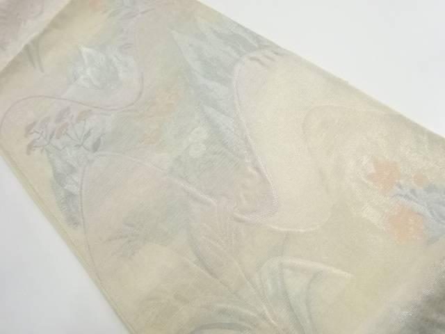 未使用品 西陣まいづる製 紗 遠山に秋草模様織出し袋帯(未仕立て)【リサイクル】【着】 宗sou